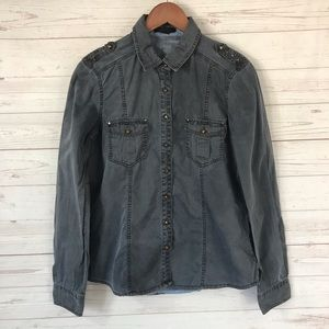 Forever 21 Military Style Button Front Shirt Studs